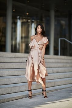 ZIMMERMANN Sueded Asymmetric Wrap Dress resort collection show new york 2017 street style alaia heels tassel earrings blog blogger fashion style outfit dress pretty model new york