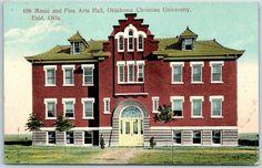 "1910 Enid, OK Postcard ""Music & Fine Arts Hall, OKLAHOMA CHRISTIAN UNIVERSITY"""