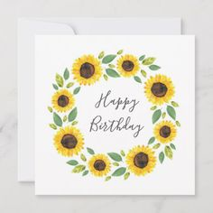 Shop Hand Painted Watercolor Sunflower Wreath Card created by MartiGambaArt. Watercolor Birthday Cards, Birthday Painting, Watercolor Cards, Flower Birthday Cards, Happy Birthday Cards Handmade, Homemade Birthday Cards, Personalized Birthday Cards, Happy Birthday Calligraphy, Sunflower Cards