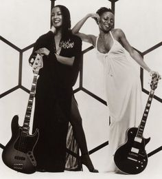 """Black women rock - Janice Marie Johnson (bass) and Hazel Payne (guitar) in an outtake from the cover shoot for their 1978 album, """"A Taste of Honey"""" which had their biggest hit, """"Boogie Oogie Oogie"""" Funk Bands, Woman Singing, Back In The 90s, Vintage Black Glamour, Old School Music, I Love Music, Black Girls Rock, Female Singers, Music Artists"""