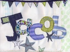 Name Pictures - Tania Sneesby Embroidery Applique, Machine Embroidery, Name Pictures, Sewing Cards, Name Letters, Baby Cards, Christening, Sewing Ideas, Fiber