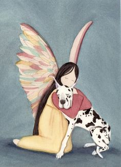 Harlequin great dane (cropped ears) with angel / Lynch signed folk art print Cute Dog Costumes, Dog Halloween Costumes, I Love Dogs, Cute Dogs, Chien Halloween, Scary Movie Characters, Harlequin Great Danes, Art Populaire, Great Dane Puppy