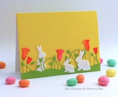 Memory Box Springtime Bunnies, Memory Box Spring Border, Open Studio Stitched Layers, Peerless Watercolors, Jean Okimoto