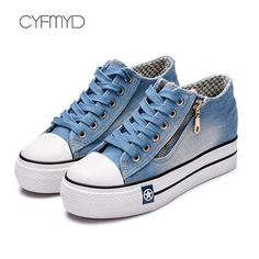 Canvas shoes for girls 2020 Spring Fashion Sneakers Solid Sewing Women Denim Shoe Sapato Feminino Size Sneakers Mode, Casual Sneakers, Sneakers Fashion, Shoes Sneakers, Denim Shoes, White Casual Shoes, Girls Shoes, Shoes Women, Womens Shoes Wedges