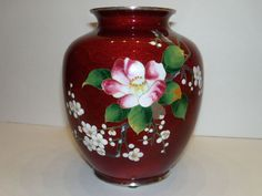 JAPANESE CLOISONNE VASE RED GINBARI AKASUKE PIGEON BLOOD Apple Blossom Green