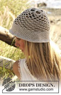 Chapeau d'été Drops au crochet en Bomull-lin ~ DROPS Design