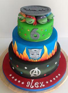 Avengers, Transformers and Turtles Cake Lane Cake, Turtles, Transformers, Avengers, Birthday Cake, Cakes, Desserts, Food, Tortoises