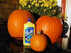 Coat your pumpkin with liquid floor cleaner and it preserves them for the whole season.  Who knew?!- do this every year works great!!