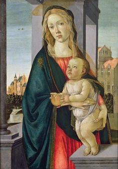 """Sandro Botticelli (Italian artist, 1445-1510) The beautiful Caterina Sforza """"lending' her face to the Virgin; and her son, to the Christ Child"""