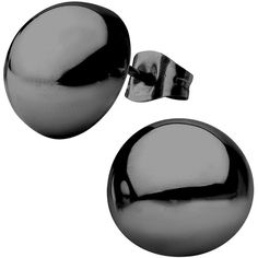 Stainless Steel And Black Ip Hollow Button Stud Earrings 1 ($25) ❤ liked on Polyvore featuring jewelry, earrings, stainless steel jewellery, black stud earrings, stud earring set, black jet jewelry and black earrings
