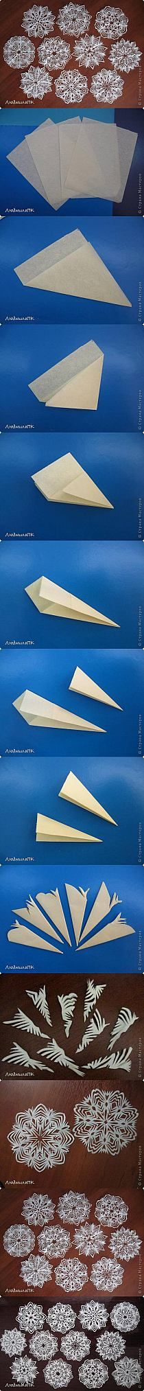 Snowflakes, step-by-step folding and cutting, very nice.  The website warns you about tracking so stay out of it.  The pin is enough!