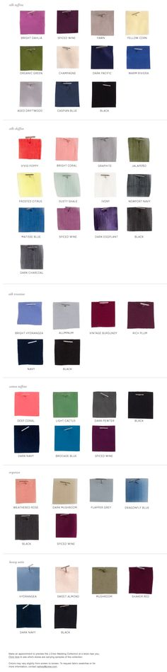 J. Crew Holiday 2011 color swatches