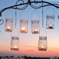 12 Hanging Garden Light DIY Mason Jar Lantern Hangers, DIY Candle Jar or Flower Vase Hangers, No Jars