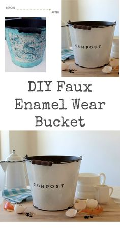 Create a Faux Enamel Wear Compost Bucket from a worn metal bucket