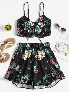 6e9a0c8fa270 Floral Lace Up Top Shorts Two Piece Set - BLACK S 2 Piece Outfits, Two