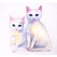 CUSTOM couple KITTENS PORTRAIT Personalized pet by deodea on Etsy, $40.00