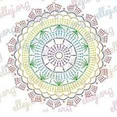 Crochet Doily Diagram, Crochet Mandala Pattern, Crochet Chart, Crochet Squares, Crochet Doilies, Crochet Flowers, Crochet Stitches, Knit Crochet, Crochet Edgings