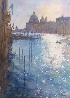 Robert Brindley    'Sparkling Light, Grand Canal, Venice'. Watercolour on Arches, Not paper.