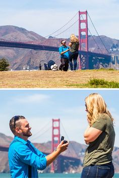 Their romantic picnic turned into the cutest marriage proposal by the Golden Gate Bridge!