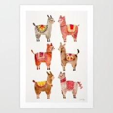 Art Print featuring Alpacas by Cat Coquillette