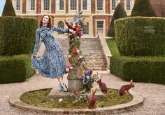 Charming in blue, Karen Elson wears Erdem crepe de chine dress and Christian Louboutin heels