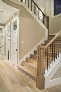 "Benjamin Moore ""Bleeker Beige"" for paint. Love the staircase too! Villa Plan, Bleeker Beige, Halls, Hobby Room, Hobby Lobby, Design Case, Stairways, My Dream Home, Home Projects"