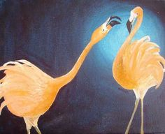 """January 2009 Painting Project: A Color and Its Complementary: """"Fabulous Flamingos"""" by Stefanie Lee"""