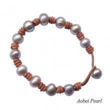 Aobei Pearl Handmade Bracelet made of Freshwater Pearl and Genuine Leather Cord, Knots Bracelet, Pearl Bracelet, Beaded Bracelet, ETS-B0013