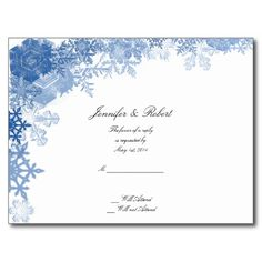 Blue Snowflakes on White Wedding RSVP Postcard