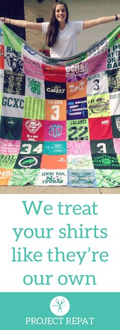 Every t-shirt quilt has a unique story to tell — what will yours say? Learn more about how you can turn t-shirts into a great conversation starter with Project Repat. https://www.projectrepat.com/?utm_source=Pinterest&utm_medium=3.7P