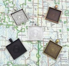 Antique Bronze Pendant Blanks Cameo Bezel Settings Photo Jewelry 12 Deannassupplyshop 35mm inch square Pendant Trays with glass 35mm Custom Jewelry Making