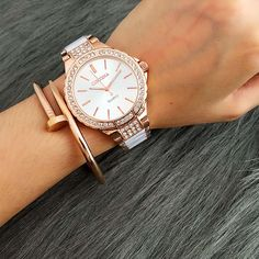 Ladies Contena Quartz Watch Women Rhinestone Alloy Casual Dress Women's Watch Rose Gold Crystal Reloje Mujer 2017 Montre Femme