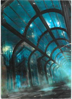 Detail of the cover painting used for the first Bioshock game showing the tunnels of Rapture
