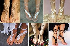 There are many styles for Barefoot Beach Sandals , crochet , beaded…. They are glamorous, sexy adornments, perfect for. Barefoot Sandals Crochet, Barefoot Sandals Tutorial, Crochet Shoes, Crochet Slippers, Crochet Lace, Diy Crochet Sandals, Beach Wedding Sandals, Beach Sandals, Knooking