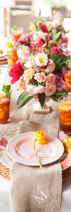 Bright and Colorful Table Setting for Spring Weddings and Bridal Showers - Tablescape with cheery flowers