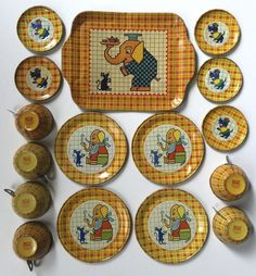 "Vintage 1939 Chein tin-litho toy tea set ""Elephant and Mouse"" #Chein"