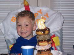 fun birthday traditions - breakfast doughnut tower!