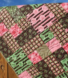 Pink, Green & Brown Baby Girl Quilt