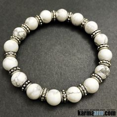 White Turquoise is a stone of awareness. It can prepare you to receive wisdom and attunement from the Higher Self and the Divine. It is also used for dimensional travel, healthy meditation and used to heighten creativity and expand self-expression. It also stimulates romantic love.  ..…..Beaded Bracelet. Yoga Chakra Charm Mala Stretch Meditation Jewelry. Energy Healing Crystals Stacks… pulseiras Bijoux….Handmade Reiki Mala…Tibetan Buddhist. Mens Womens…..