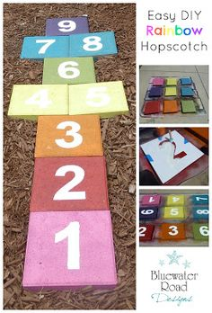 Bluewater Road Designs: Easy DIY Rainbow Hopscotch {Made with Pavers} - Backyard Garden Diy Kids Kids Outdoor Play, Outdoor Play Spaces, Kids Play Area, Backyard For Kids, Diy For Kids, Backyard Patio, Backyard Playground, Playground Ideas, Kids Playing