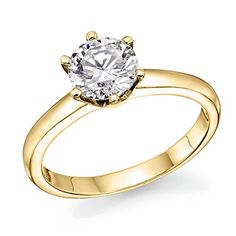 1/2 ct. Round Diamond Solitaire Engagement Ring in 14k Yellow Gold