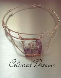 Choker necklace, sterling silver&amethyst