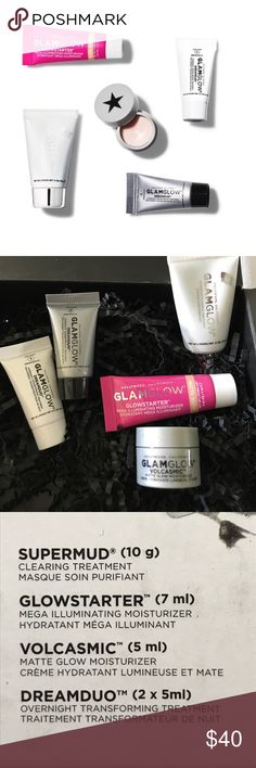 NEW GLAMGLOW TRAVELS ALL BRAND NEW !!!! PRICE FIRM UNLESS BUNDLED 📌NO OFFERS ON BUNDLES PLEASE AS I HAVE A AUTOMATIC BUNDLE RATE THAT APPLIES 📌 PICTURES 3 & 4 SHOWS WHATS IN BOX PLUS SIZES. I HAVE MANY BEAUTY ITEMS LISTED , TAKE A LOOK TO BUNDLE AND SAVE MORE AND SAVE ON SHIPPING . Sephora Makeup