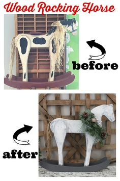 Wow! what an idea for a vintage wood rocking horse makeover at refresh restyle