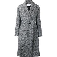 Alexander Wang bouclé coat found on Polyvore featuring outerwear, coats, black, lapel coat, boucle coats, long sleeve shawl, alexander wang coat and shawl coat