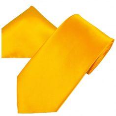 Plain Golden Yellow Men's Satin Tie & Pocket Square Handkerchief Set. Classic men's wedding set.