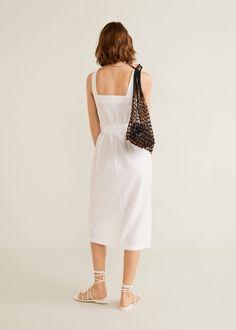 Damen Mango Outlet, Mango Fashion, Latest Trends, Cool Outfits, White Dress, Neckline, Cotton, Shopping, Suspenders