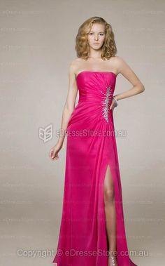 Sheath/Column Strapless Chiffon Floor-length Fuchsia Split Front Evening Dress at edressestore.com.au