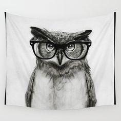 Mr. Owl Wall Tapestry. #animals #black-white #illustration #humor