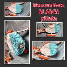 The pinata I made for Tony's Rescue Bots themed birthday party